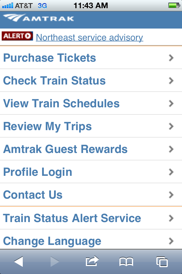 Amtrak mobile app
