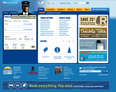 Amtrak website homepage