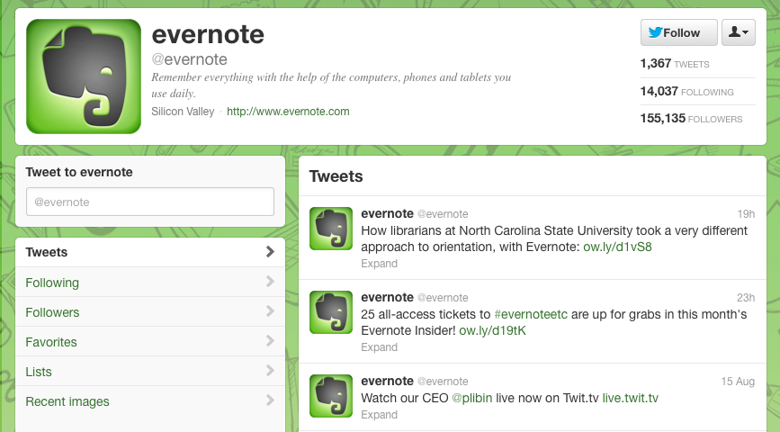 Evernote twitter page