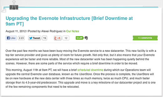 Evernote blog notes