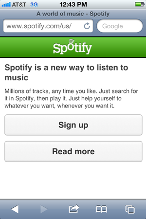 Spotify mobile screen shot