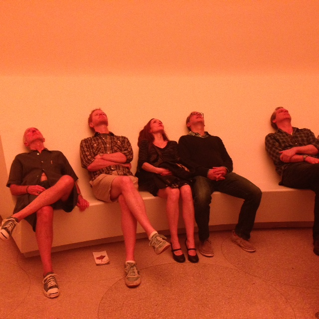 "People experiencing James Turrell&squot;s ""Light"" exhibit"